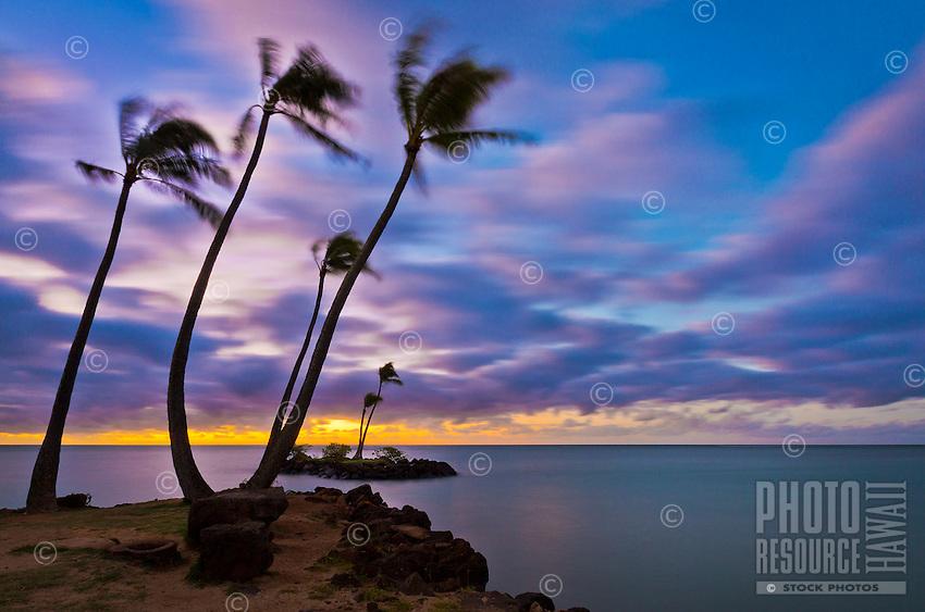 A vivid sunrise, seen from the Kahala district of Honolulu, East O'ahu.