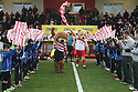 Mascots lead the teams out. Stevenage v Doncaster Rovers - npower League 1 -  Lamex Stadium, Stevenage - 12th January, 2013. © Kevin Coleman 2013.