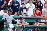 Derek Jeter #2 of the New York Yankees looks on from the dugout during the final out in the 9th inning against the Boston Red Sox at Fenway Park in his final career game on September 27, 2014 in Boston, Massachusetts. (Photo by Jared Wickerham for the New York Daily News)
