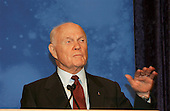 Former astronaut and United States Senator John H. Glenn Jr. (Democrat of Ohio, retired) compares early space flight to present day pursuits while addressing the crowd gathered for Space Day activities at the National Air and Space Museum's Steven F. Udvar-Hazy Center in Chantilly, Virginia on May 6, 2004.  His words came shortly before the presentation of NASA's 2004 class of astronaut candidates..Mandatory Credit: Renee Bouchard / NASA via CNP