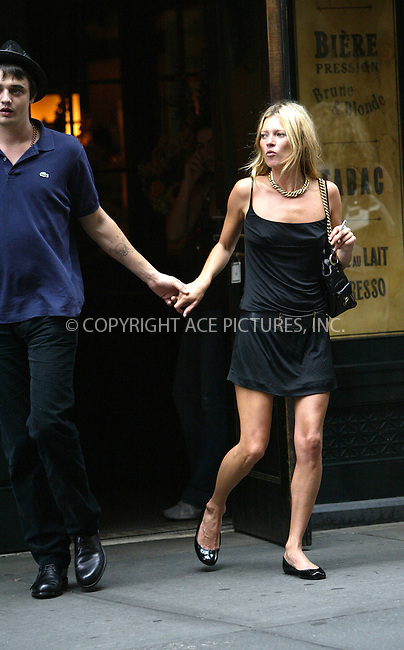 WWW.ACEPIXS.COM . . . . .  ....NEW YORK, SEPTEMBER 14, 2005....Kate Moss and her latest boyfriend, singer for The Libertines, Pete Doherty walked from trendy SoHo restaurant Balthazar to their hotel. On seeing the waiting photographers and reporters, the pair broke into a run. Doherty then proceeds to grab and threaten a British newspaper reporter who attempted to interview him in the street. He also knocked a photographer to the ground causing her to sustain minor injuries and damage to her camera. Eventually the two made it to their SoHo hotel. Later Pete Doherty appeared at the window of their room with a lovely hand gesture and his guitar.....Please byline: JENNIFER L GONZELES-ACE PICTURES.... *** ***..Ace Pictures, Inc:  ..Craig Ashby (212) 243-8787..e-mail: picturedesk@acepixs.com..web: http://www.acepixs.com
