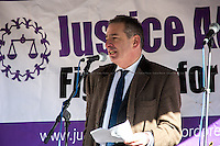 Jonathan Black (Criminal defence specialist, President of the London Criminal Courts Solicitors' Association, LCCSA and Justice Alliance Member).<br /> <br /> London, 23/02/2015. Today, the &quot;Justice Alliance&quot; and their Chris Grayling puppet dresses as King John Lackland arrived in Westminster for the last day of a tree-day march called &quot;Relay For Rights&quot; from Runnymede, birth place of the Magna Carta, to Old Palace Yard, where they held the &quot;Not the Global Law Summit&quot; rally. At the end of the demonstration outside the Houses of Parliament, protesters marched peacefully to the Queen Elizabeth II Centre where the &quot;Global Law Summit&quot; was taking place. From the organisers Facebook page: &lt;&lt; [&hellip;] February 23rd 2015 is the 799th and 8 month anniversary of the signing of the Magna Carta. The Government is using this non-anniversary to host the Global Law Summit, &quot;a unique opportunity to explore what the future holds for global business and the rule of law&quot;. This back-slapping corporate jamboree, partly funded by the Ministry of Justice, comes at a time when the same department has waged a slash-and-burn campaign on advice and representation, leaving people without deep pockets unable to get justice in court. Magna Carta represents the oldest historical commitment to equal access to justice in Britain. We are here to remind the Government of its duty to provide access to justice for all, and not merely to the rich. [&hellip;]&gt;&gt;<br /> <br /> For more information please click here: http://bit.ly/1G6aHZx