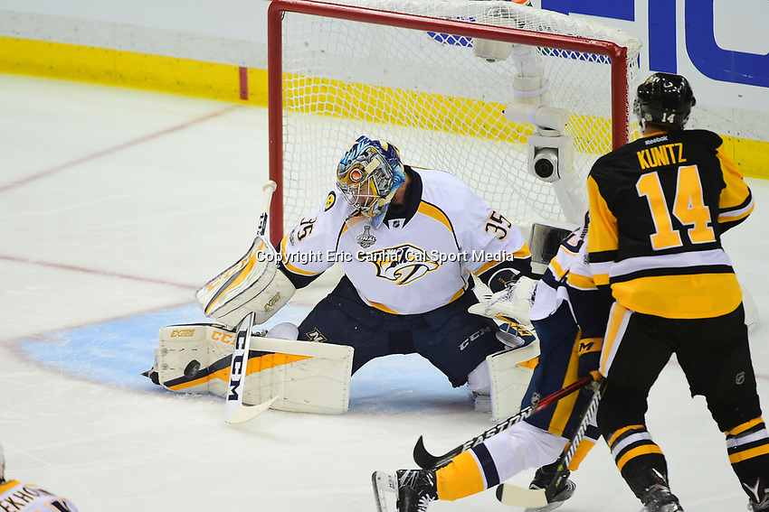 May 29, 2017: Nashville Predators goalie Pekka Rinne (35) makes a save during game one of the National Hockey League Stanley Cup Finals between the Nashville Predators  and the Pittsburgh Penguins, held at PPG Paints Arena, in Pittsburgh, PA. Pittsburgh defeats Nashville 5-3 in regulation time.  Eric Canha/CSM
