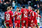 Stockholm 2014-05-04 Fotboll Superettan Hammarby IF - IFK V&auml;rnamo :  <br /> V&auml;rnamos Carlos Gaete Moggia med lagkamrater tackar V&auml;rnamos Juan Robledo efter matchen<br /> (Foto: Kenta J&ouml;nsson) Nyckelord:  Superettan Tele2 Arena Hammarby HIF Bajen V&auml;rnamo jubel gl&auml;dje lycka glad happy