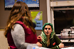 NAUGATUCK, CT. 20 December 2018-122018 - Naugatuck High School Senior Holly Santos, right asks prevention coordinator Nicole Wiley, about the preventive measures and how to see the signs, during a suicide training class at the Naugatuck Youth Services in Naugatuck on Thursday. Bill Shettle Republican-American