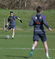 Pictured: Connor Roberts takes a shot Friday 24 March 2017<br /> Re: Swansea City U23 training ahead of their International Cup game against Porto, Fairwood training ground, UK