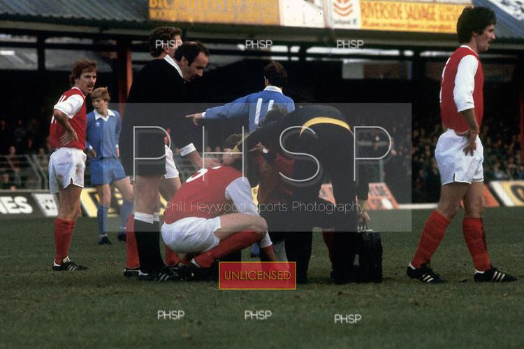 22/11/80 Blackpool v Fleetwood Town FAC 1.Fleetwood 6 receives treatment.©  Phill Heywood