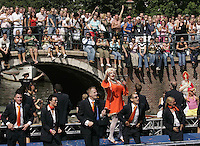 "Performance of participates "" Gay Parade Amsterdam 2006"" during marching at chanels of Amsterdam on 5 August, 2006."
