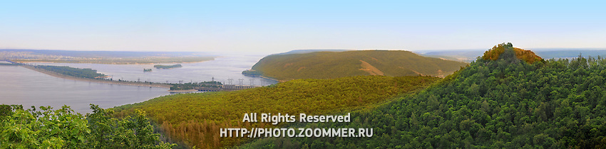 Panorama of Volga hydroelectric power station and dam on Volga river