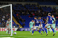 Marlon Pack of Cardiff City scores his side's second goal during the Sky Bet Championship match between Cardiff City and Queens Park Rangers at the Cardiff City Stadium in Cardiff, Wales, UK. Wednesday 02 October, 2019