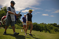 Charley Hull (ENG) and Stacy Lewis (USA) depart the 13th tee box during round 1 of  the Volunteers of America Texas Shootout Presented by JTBC, at the Las Colinas Country Club in Irving, Texas, USA. 4/27/2017.<br /> Picture: Golffile | Ken Murray<br /> <br /> <br /> All photo usage must carry mandatory copyright credit (&copy; Golffile | Ken Murray)