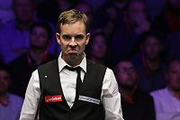 19th january 2020, Alexandra palace, London, United Kingdom;  Ali Carter of England reacts during the final match against Stuart Bingham of England at Snooker Masters 2020 at the Alexandra Palace in London