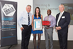 17/07/2015 The IRTE Skills Challenge 2015 prize-giving takes place at The National Motorcycle Museum, Birmingham. Sir Moir Lockhead (left) presents the Top Scoring Electrical and Mechanical Award to Pamela Chapman and Lloyd Mason of Arriva (representing the winner Tom King who was unable to attend) with sponsor John Simmons of Knorr-Bremse (far right).
