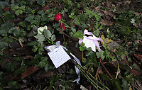 Pictured: Floral tributes left by a South Wales Police officer at the scene where the body of Rebecca Aylward was discovered. Monday 25 October 2010<br />