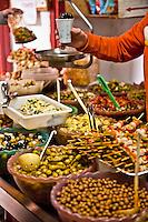 Olives on display at a vendor stall, Madrid, Spain