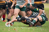 Liam Daniela stretches out to score as Penitoa Finau makes the tackle. Counties Manukau Club Rugby game between Manurewa and Bombay played at Mountfort Park Manurewa on Saturday June 2nd 2018. Bombay won the game 27 - 20 after leading 20 - 5 at halftime. <br /> Manurewa Kidd Contracting 20 - Caleb Fa'alili, William Raea, Willie Tuala, Viliami Taulani tries.<br /> Bombay 27 - Liam Daniela, Sepuloni Taufa, Talaga Alofipo tries, Ki Anufe 3 conversions, Ki Anufe 2 penalties.<br /> Photo by Richard Spranger.