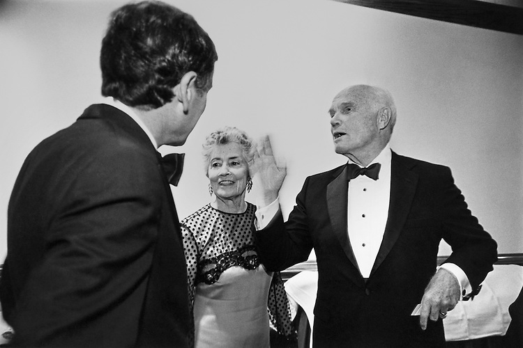 Sen. John Herschel Glenn, D-Ohio, Senate Committee on Governmental Affairs Chairman and his wife Annie Glenn talking with Robert L. Lieff, lawyer, at the Democratic Senatorial Campaign Committee (DSCC) dinner. September 23, 1992 (Photo by Kathleen Beall/CQ Roll Call)
