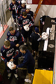 Kenny Ryan (US - 20), Steve Castelletti (US - Equipment Manager), Jack Campbell (US - 1), Mac Moore (US - Assistant), Zach Budish (US - 24) - Team USA defeated Team Russia 6-0 in their final game during the 2009 USA Hockey National Junior Evaluation Camp on Saturday, August 15, 2009, in the USA (NHL-sized) Rink in Lake Placid, New York.