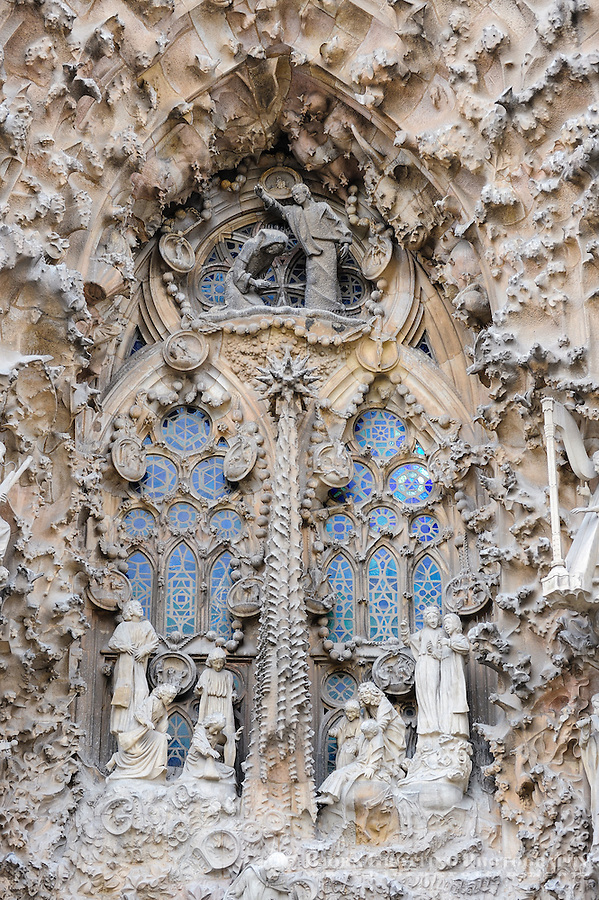 Spain, Barcelona. The Sagrada Família designed by Antoni Gaudí. Nativity Facade.