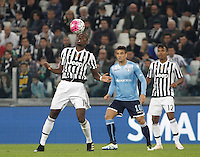 Calcio, Serie A: Juventus vs Lazio. Torino, Juventus Stadium, 20 aprile 2016.<br /> Juventus&rsquo; Paul Pogba, left, controls the ball past Lazio&rsquo;s Felipe Anderson during the Italian Serie A football match between Juventus and Lazio at Turin's Juventus Stadium, 20 April 2016.<br /> UPDATE IMAGES PRESS/Isabella Bonotto