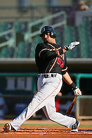 August 24 2008: Lino Garcia of the Modesto Nuts bats against the Lancaster JetHawks at Clear Channel Stadium in Lancaster,CA.  Photo by Larry Goren/Four Seam Images