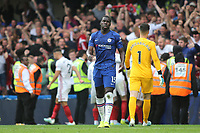 Chelsea's Kurt Zouma looks on in disbelief as Sheffield United celebrate their second goal during Chelsea vs Sheffield United, Premier League Football at Stamford Bridge on 31st August 2019