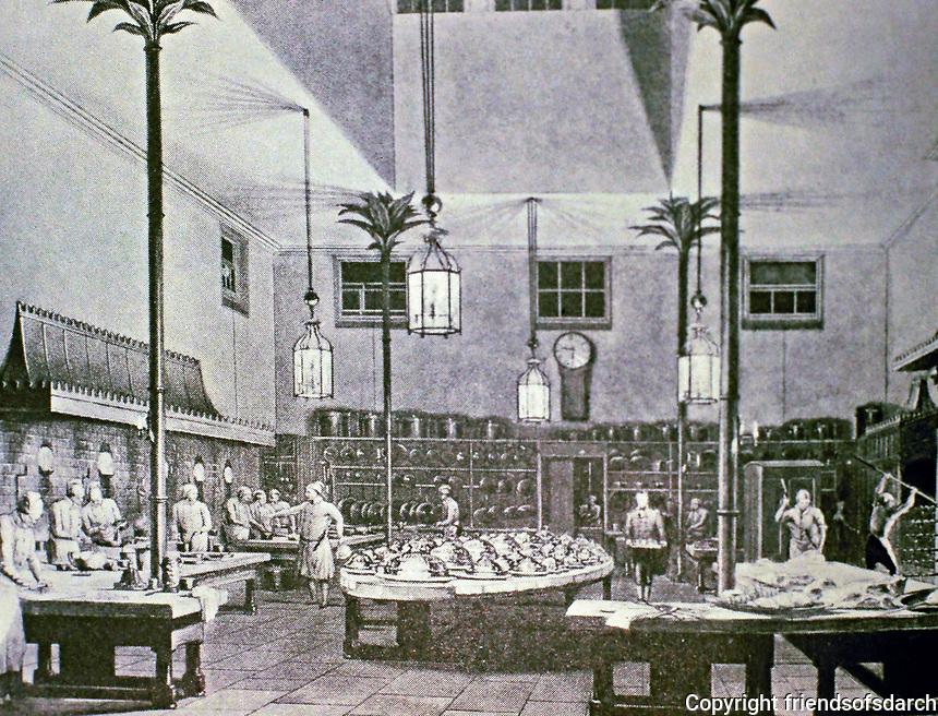 Royal Pavillion--kitchen. Brighton. Designed by John Nash, 1818-1821. Historical photo.