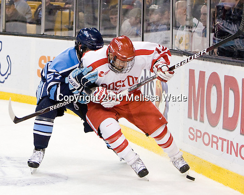 Matt Mangene (Maine - 57), Chris Connolly (BU - 12) - The University of Maine Black Bears defeated the Boston University Terriers 5-2 (EN) on Friday, March 19, 2010, in their Hockey East championship semi-final at the TD Garden in Boston, Massachusetts.