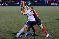 Rochester, NY - Saturday May 21, 2016: Sky Blue FC forward Leah Galton (21) and Western New York Flash defender Jaelene Hinkle (15). The Western New York Flash defeated Sky Blue FC 5-2 during a regular season National Women's Soccer League (NWSL) match at Sahlen's Stadium.