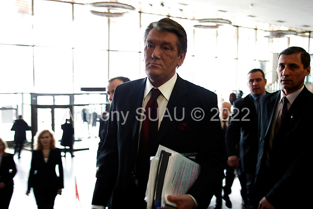 Kiev, ukraine.March 19, 2006..Ukraine President Victor Yushchenko holds a press conference in the Ukrainian House.