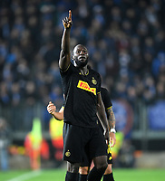 191030 -- BRESCIA, Oct. 30, 2019 Xinhua -- FC Inter s Romelu Lukaku celebrates his goal during a Serie A soccer match between Brescia and FC Inter in Brescia, Italy, Oct 29, 2019. Photo by Alberto Lingria/Xinhua SPITALY-BRESCIA-SOCCER-SERIE A-INTER MILAN VS BRESCIA PUBLICATIONxNOTxINxCHN <br /> Brescia 29-10-2019 Stadio Mario Rigamonti <br /> Football Serie A 2019/2020 <br /> Brescia - FC Internazionale <br /> Photo Alberto Lingria / Xinhua / Imago  / Insidefoto
