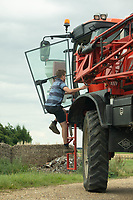 21.7.2020 Sprayer operator climbing back into a sprayer <br />  ©Tim Scrivener Photographer 07850 303986<br />      ....Covering Agriculture In The UK.