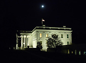 Full Moon over the White House from the west driveway of the White House in Washington, DC on Tuesday, October 23, 2018.<br /> Credit: Ron Sachs / CNP