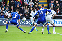 Nathan Dyer of Swansea City has a shot at goal during the Sky Bet Championship match between Swansea City and Cardiff City at the Liberty Stadium in Swansea, Wales, UK. Sunday 27 October 2019