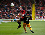 Mark Duffy of Sheffield Utd in action with James Meredith of Bradford City during the English League One match at Bramall Lane Stadium, Sheffield. Picture date: April 17th 2017. Pic credit should read: Simon Bellis/Sportimage