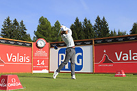 Tommy Fleetwood (ENG) tees off the 14th tee during Thursday's Round 1 of the 2017 Omega European Masters held at Golf Club Crans-Sur-Sierre, Crans Montana, Switzerland. 7th September 2017.<br /> Picture: Eoin Clarke | Golffile<br /> <br /> <br /> All photos usage must carry mandatory copyright credit (&copy; Golffile | Eoin Clarke)