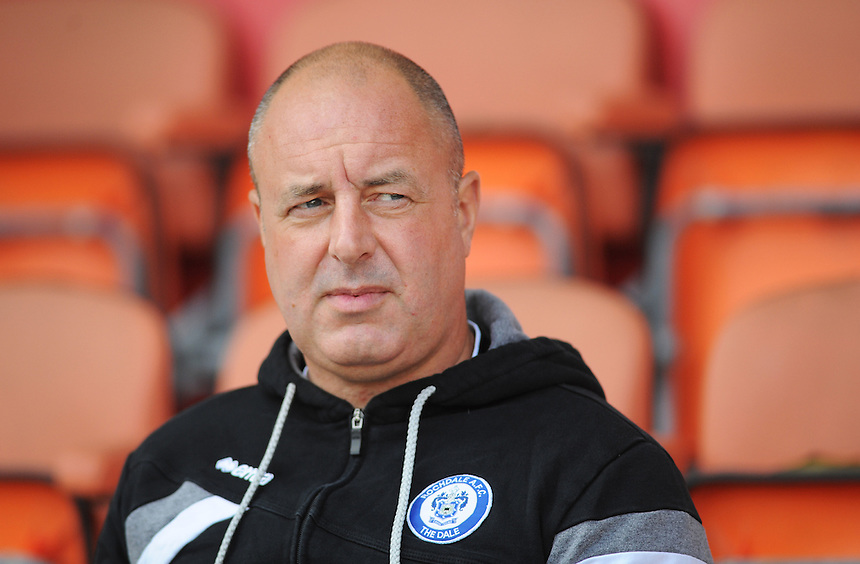 Rochdale manager Keith Hill before kick-off<br /> <br /> Photographer Kevin Barnes/CameraSport<br /> <br /> Football - The Football League Sky Bet League One - Blackpool v Rochdale - Saturday 15th August 2015 - Bloomfield Road - Blackpool<br /> <br /> &copy; CameraSport - 43 Linden Ave. Countesthorpe. Leicester. England. LE8 5PG - Tel: +44 (0) 116 277 4147 - admin@camerasport.com - www.camerasport.com