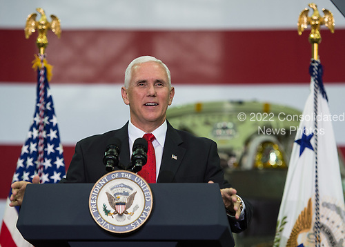 In this photo released by the National Aeronautics and Space Administration (NASA) United States Vice President Mike Pence addresses NASA employees, Thursday, July 6, 2017, at the Vehicle Assembly Building at NASA&rsquo;s Kennedy Space Center (KSC) in Cape Canaveral, Florida. The Vice President thanked employees for advancing American leadership in space, before going on a tour of the center that highlighted the public-private partnerships at KSC, as both NASA and commercial companies prepare to launch American astronauts from the multi-user spaceport. <br /> Mandatory Credit: Aubrey Gemignani / NASA via CNP