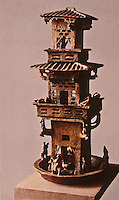 """China:  Chinese Architecture--terra cotta glazed burial article, Eastern Han. A clay tower--an """"UR"""" form for the pagoda."""