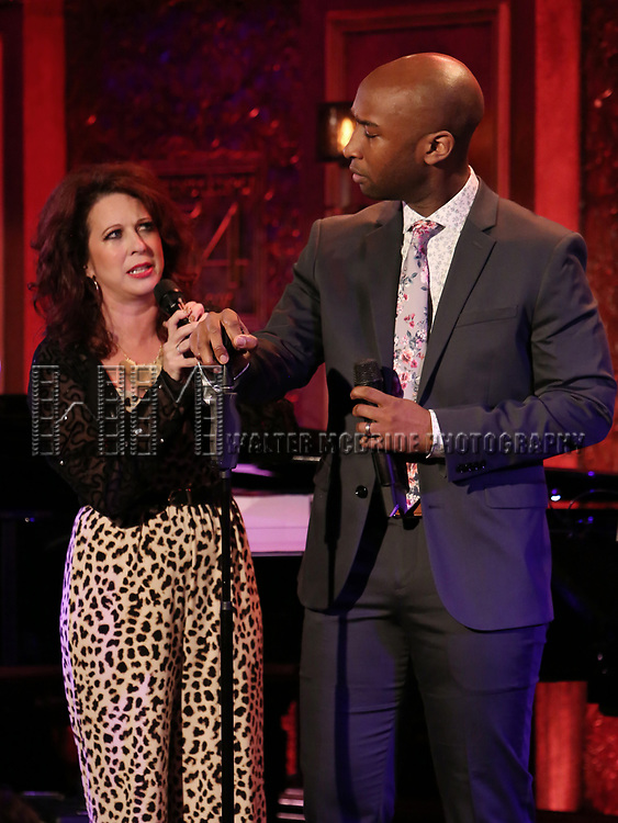 """Kirsten Wyatt and Donald Webber Jr.on stage during a Song preview performance of the BeBe Winans Broadway Bound Musical """"Born For This"""" at Feinstein's 54 Below on November 5, 2018 in New York City."""
