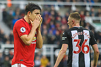 Harry Maguire of Manchester United looks dejected as Manchester United lose during the Premier League match between Newcastle United and Manchester United at St. James's Park, Newcastle, England on 6 October 2019. Photo by James  Gill / PRiME Media Images.