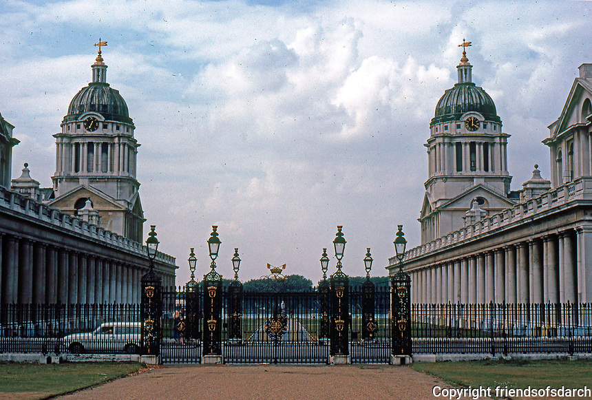 Greenwich: Royal Naval Hospital.  Domes, River, from grounds of Queen's House. (Photo '79)