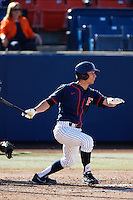 Jared Deacon #31 of the Cal State Fullerton Titans bats against the Nebraska Cornhuskers at Goodwin Field on February 16, 2013 in Fullerton, California. Cal State Fullerton defeated Nebraska 10-5. (Larry Goren/Four Seam Images)