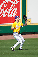 LSU Tigers left fielder Alex Edward #13 makes a catch during the NCAA baseball game against the Mississippi State Bulldogs on March 18, 2012 at Alex Box Stadium in Baton Rouge, Louisiana. LSU defeated Mississippi State 4-2. (Andrew Woolley / Four Seam Images).