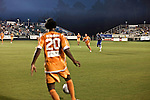 September 12, 2009. Cary, NC..The Carolina Railhawks took over the #2 spot in the league after a 2-1 victory over the Puerto Rico Islanders.. #20 Gregory Richardson,left, had a goal in the 1st minutes of the game. Here he passes to #11 Daniel Paladini.