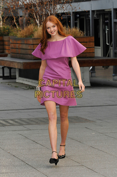 LILY COLE.is announced as New Face of Limited Collection for Marks & Spencer, University of Westminster, Marylebone Road,  London, England, 14th November 2007..full length  pink purple dress black ankle strap shoes.Ref: CAP/PL.©Phil Loftus/Capital Pictures.