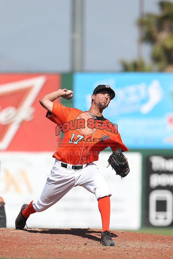 Trevor Foss (17) of the Inland Empire 66ers pitches during a game against the Stockton Ports at The Hanger on April 11, 2015 in Lancaster, California. San Jose defeated Lancaster, 8-3. (Larry Goren/Four Seam Images)