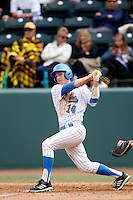 Shane Zeile #14 of the UCLA Bruins bats against the Washington Huskies at Jackie Robinson Stadium on March 17, 2013 in Los Angeles, California. (Larry Goren/Four Seam Images)