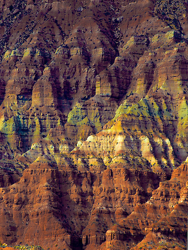 Erosion at Smith Mesa has produced vivid colors in its sandstone formations near Zion National Park, Utah