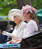 KATE AND CAMILLA RIDE IN CARRIAGE<br /> to the Trooping of the Colour Parade at Horse Guards.<br /> The event marks the Queen's Official Birthday, The Mall, London_15th June 2013<br /> Photo Credit: &copy;Reynolds/NEWSPIX INTERNATIONAL<br /> <br /> **ALL FEES PAYABLE TO: &quot;NEWSPIX INTERNATIONAL&quot;**<br /> <br /> PHOTO CREDIT MANDATORY!!: NEWSPIX INTERNATIONAL<br /> <br /> IMMEDIATE CONFIRMATION OF USAGE REQUIRED:<br /> Newspix International, 31 Chinnery Hill, Bishop's Stortford, ENGLAND CM23 3PS<br /> Tel:+441279 324672  ; Fax: +441279656877<br /> Mobile:  0777568 1153<br /> e-mail: info@newspixinternational.co.uk